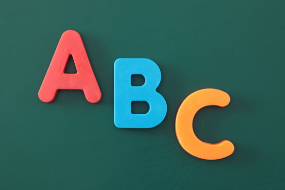 Colorful ABC Letters on a Green Chalk Board