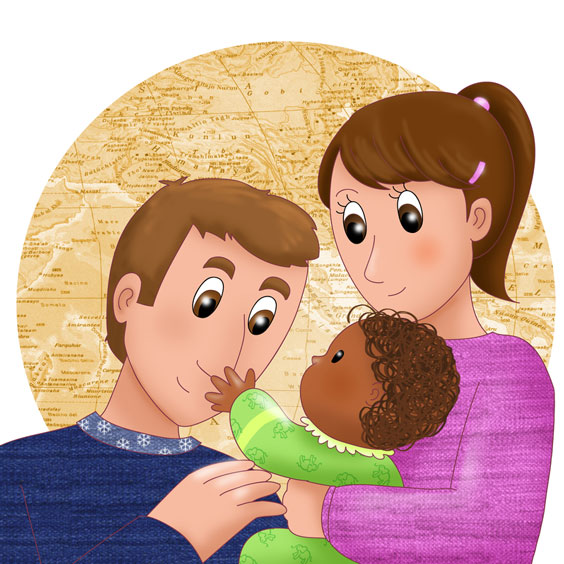 Couple Holding an Adopted Baby
