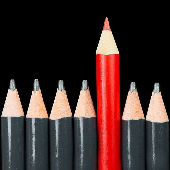 Red Pencil Above Six Gray Pencils