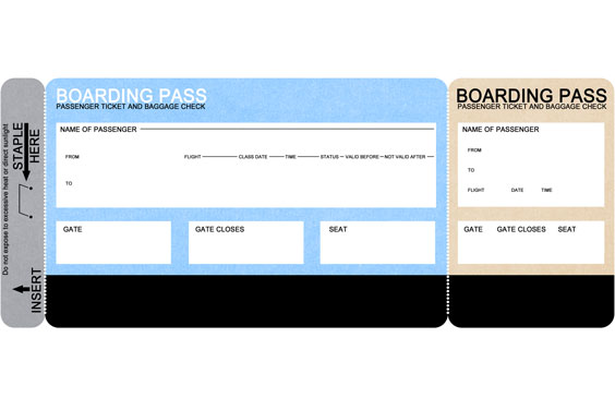 Blank Airline Boarding Pass Ticket