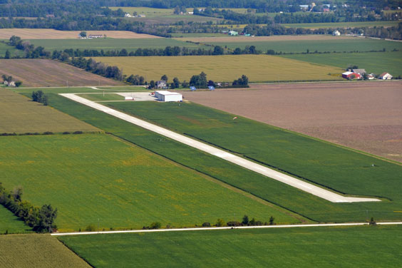 Aerial View of a Rural Airport
