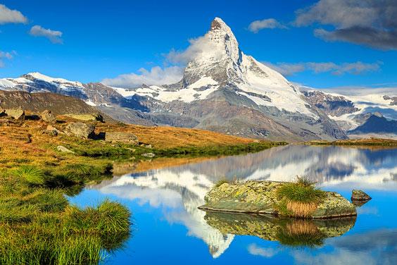 Alpine Peak and Glacier-fed Lake