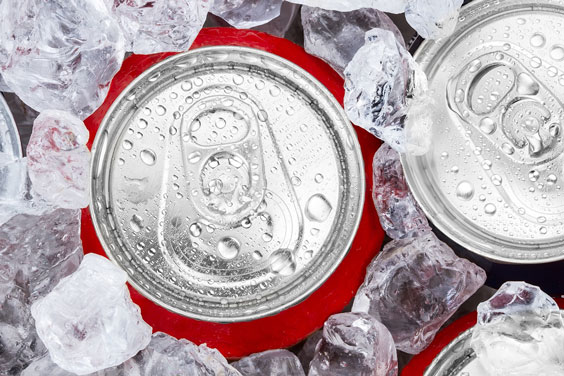 Aluminum Cans in Ice Cubes