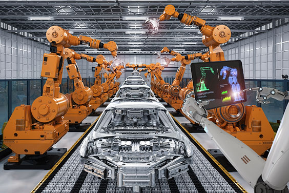 Automobile Assembly Line with Yellow Robots