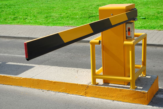 Striped Yellow and Black Lane Barrier