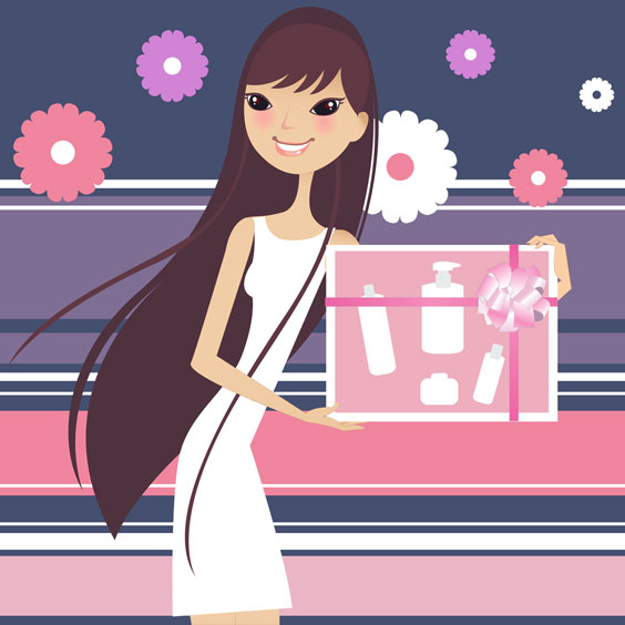 Girl Holding Beauty Salon Products