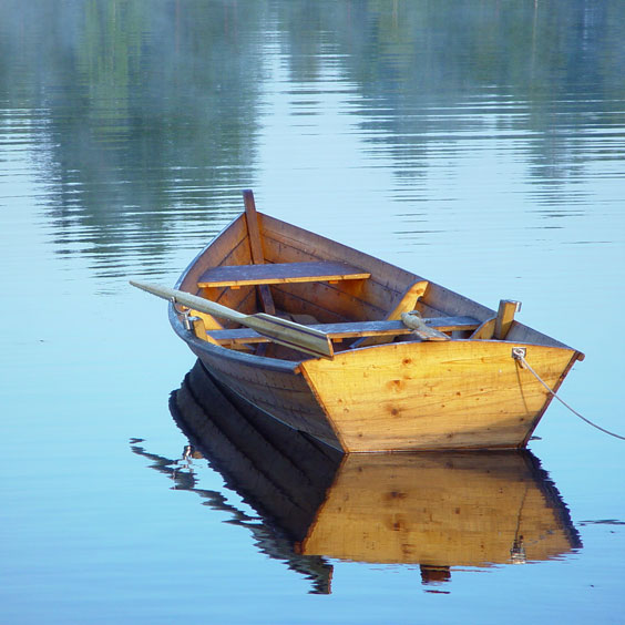 Rowboat on a Placid Lake