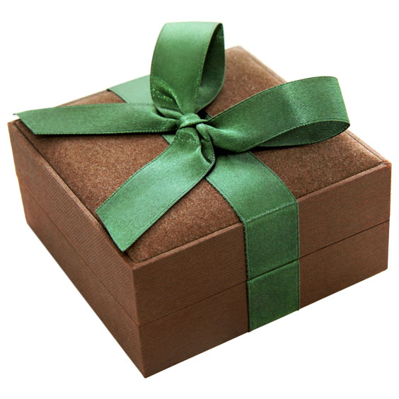 Brown Gift Box With Green Bow
