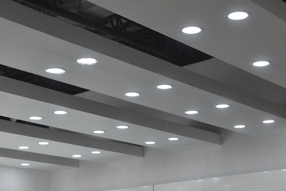 Recessed LED Ceiling Lamps in a Commercial Plaza