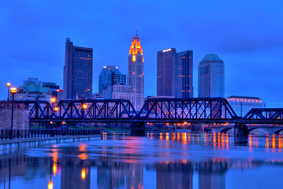 Columbus, Ohio Skyline and Bridge at Night