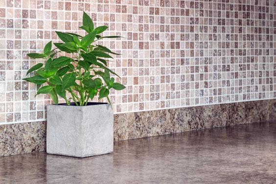 Kitchen Counter with Ceramic Tile Backsplash