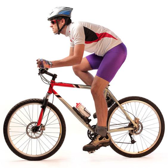 Cyclist Riding a Mountain Bike