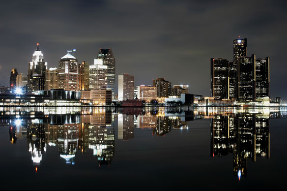 Downtown Detroit - Nighttime Reflections