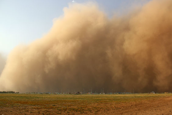 Approaching Dust Storm on the Prairie