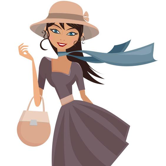 Elegant Lady with Hat, Scarf, and Handbag