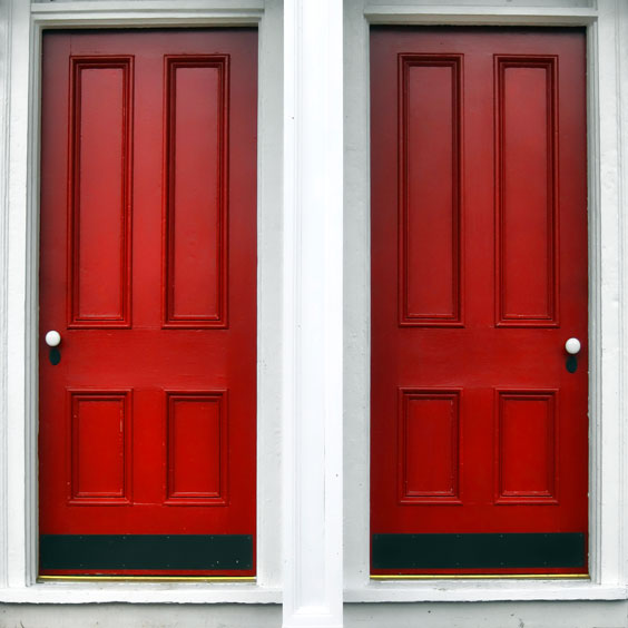 Two Red Entry Doors
