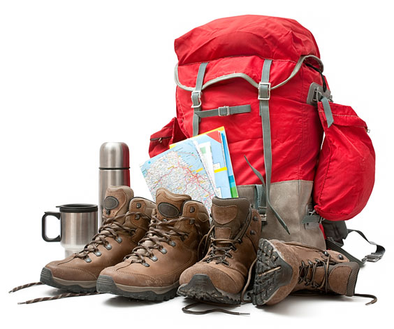 Hiking Equipment including a Red Backpack