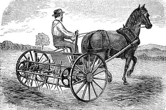 Farmer and Vintage Farming Equipment
