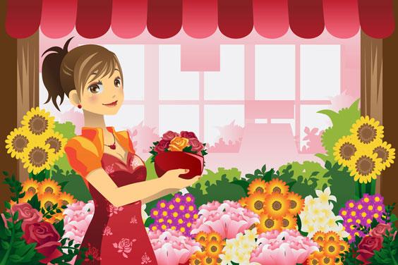 Florist Holding Flowers in a Flower Shop