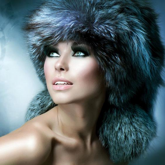 Woman Modeling a Fur Hat