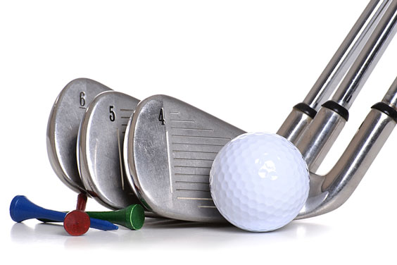 Golf Ball with Golf Clubs and Golf Tees