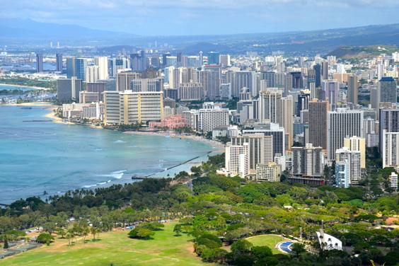 Honolulu, Hawaii Skyline near Waikiki Beach