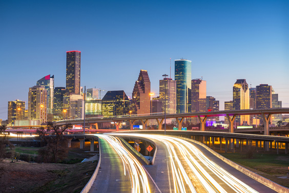 Houston, Texas Skyline and Highway Intersection