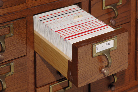Index Cards in a Library Card Catalog