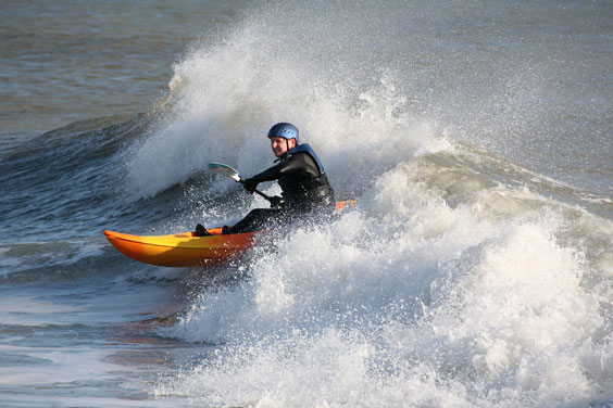 Wave Surfing in a Sea Kayak