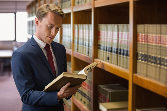 Young Lawyer in a Law Library