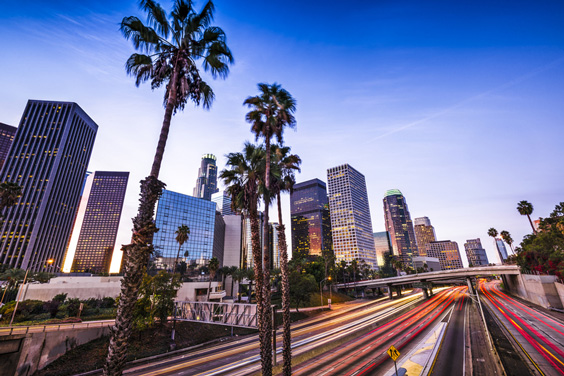 Los Angeles, California Cityscape with Freeway