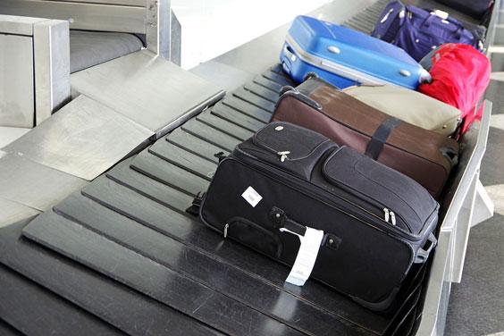 Luggage on a Baggage Claim Carousel
