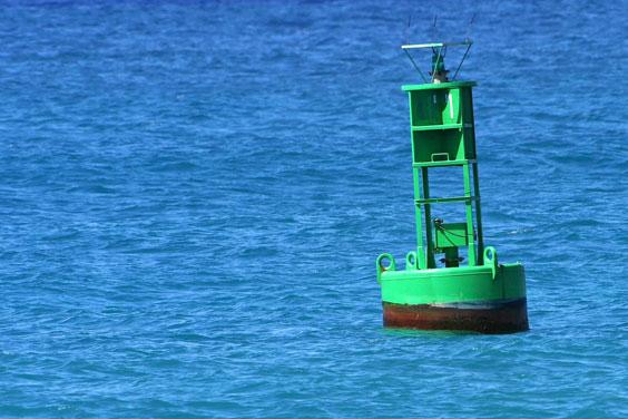 Blue Water Around Green Channel Marker