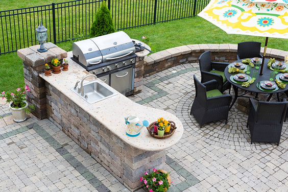 Paved Patio with Kitchen and Table