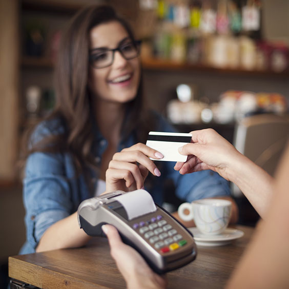 Payment via Credit Card at a Coffee Shop