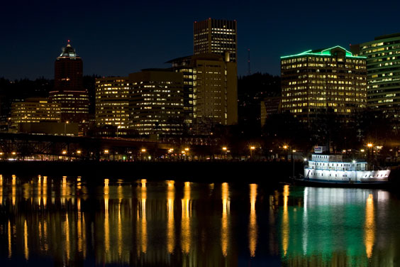 Nighttime on the Portland, Oregon Waterfront