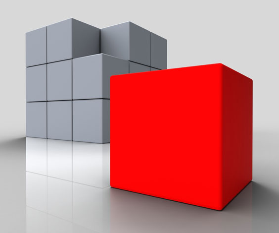 Red Block Standing Out