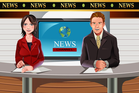 TV News Anchors Reporting the News