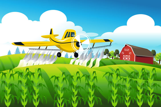 Yellow Crop Duster over a Field