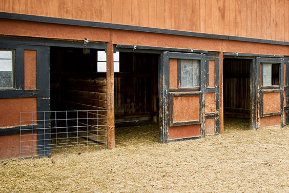 Empty Stalls in a Horse Barn