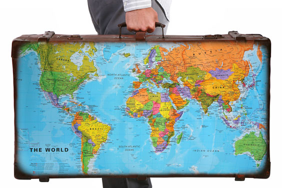 Travel Suitcase with World Map