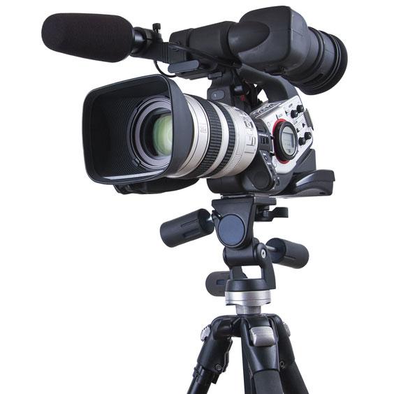 Tripod Supporting a Video Camera