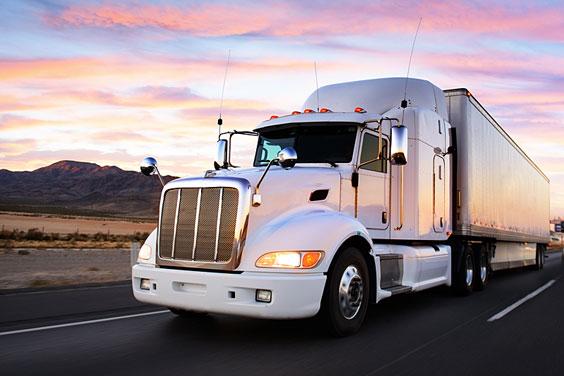 White Semi Truck at Sunset