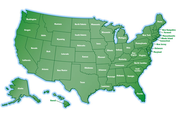 Green United States Map